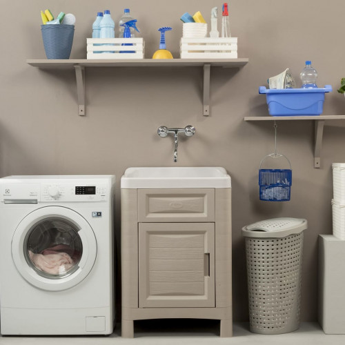 vidaXL Skåp för tvättstuga 60x51x89 cm sandfärgad