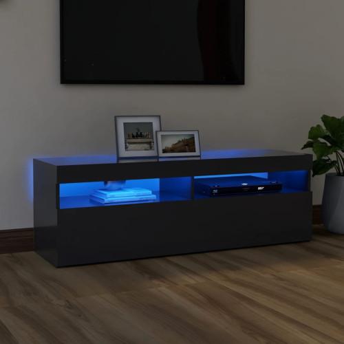 vidaXL TV-bänk med LED-belysning grå 120x35x40 cm