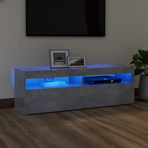 vidaXL TV-bänk med LED-belysning betonggrå 120x35x40 cm