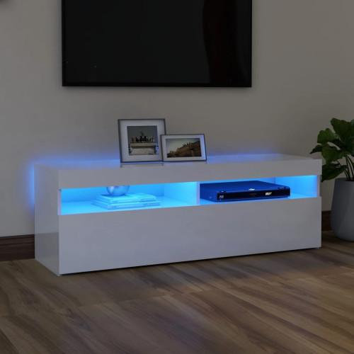 vidaXL TV-bänk med LED-belysning vit högglans 120x35x40 cm