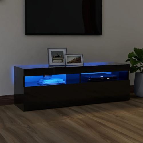 vidaXL TV-bänk med LED-lampor högglans svart 120x35x40 cm