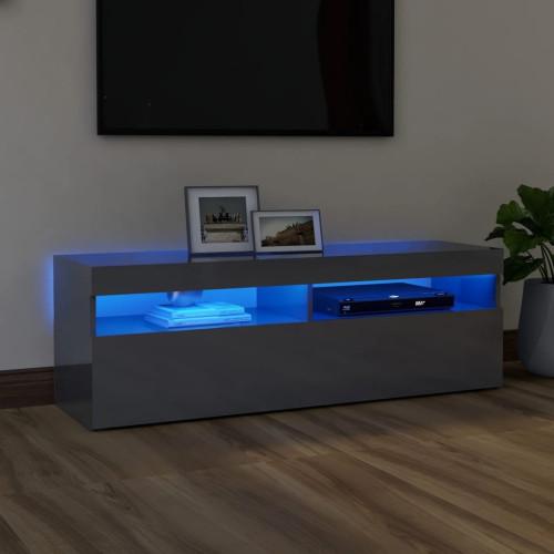 vidaXL TV-bänk med LED-belysning grå högglans 120x35x40 cm