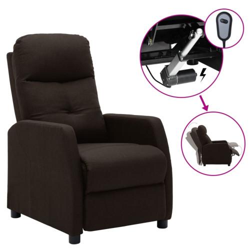 vidaXL Elektrisk reclinerfåtölj mörkbrun tyg