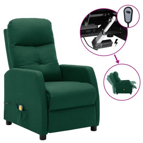 vidaXL Elektrisk massagefåtölj mörkgrön tyg