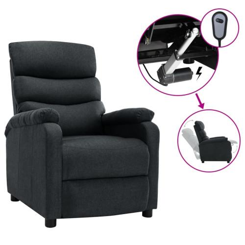vidaXL Elektrisk reclinerfåtölj mörkgrå tyg
