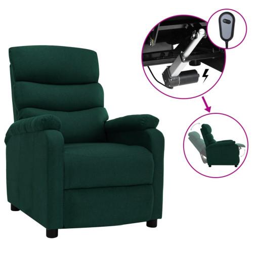 vidaXL Elektrisk reclinerfåtölj mörkgrön tyg