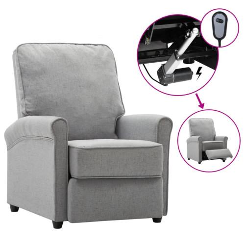 vidaXL Elektrisk reclinerfåtölj ljusgrå tyg