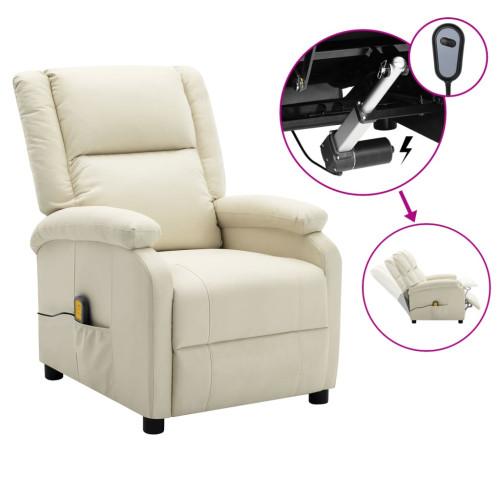 vidaXL Elektrisk massagefåtölj vit konstläder