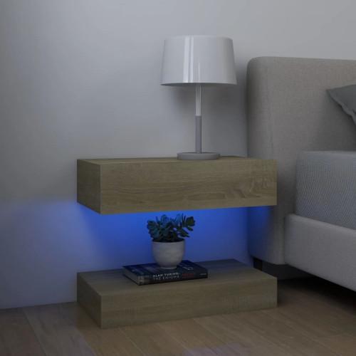 vidaXL Sängbord sonoma-ek 60x35 cm spånskiva