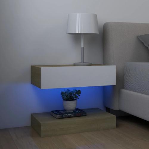 vidaXL Sängbord vit och sonoma-ek 60x35 cm spånskiva