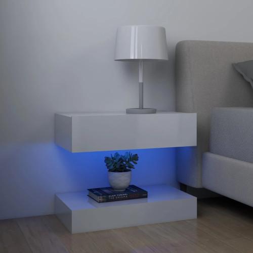 vidaXL Sängbord vit högglans 60x35 cm spånskiva