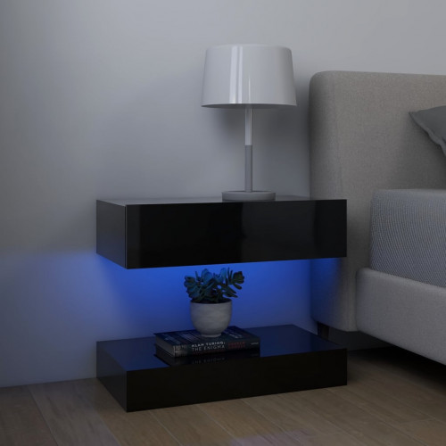 vidaXL Sängbord svart högglans 60x35 cm spånskiva