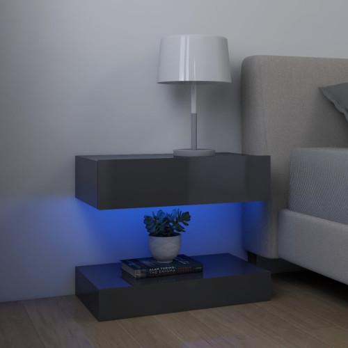 vidaXL Sängbord grå högglans 60x35 cm spånskiva