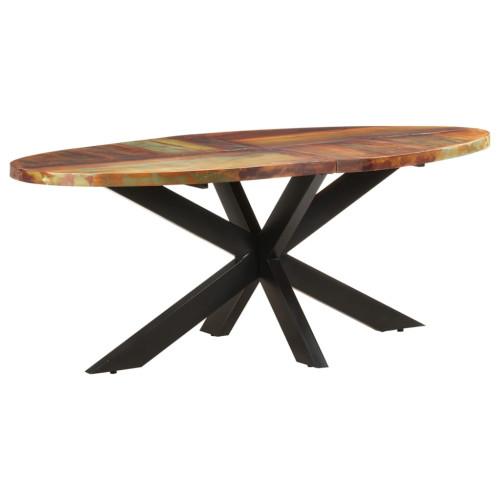 vidaXL Matbord ovalt 200x100x75 cm massivt återvunnet trä