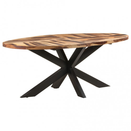 vidaXL Matbord ovalt 200x100x75 cm massivt akaciaträ med sheshamyta