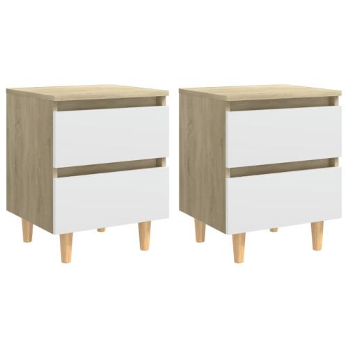 vidaXL Sängbord med massiva furuben 2 st vit och sonoma-ek 40x35x50 cm