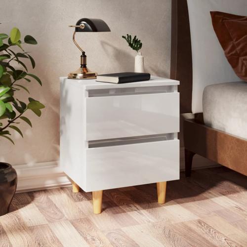 vidaXL Sängbord med massiva furuben 2 st vit högglans 40x35x50 cm
