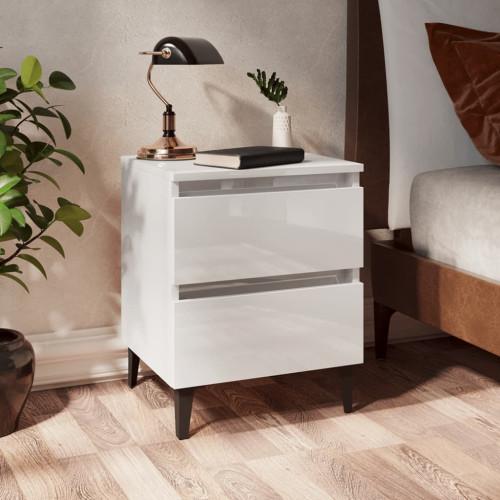 vidaXL Sängbord 2 st vit högglans 40x35x50 cm spånskiva