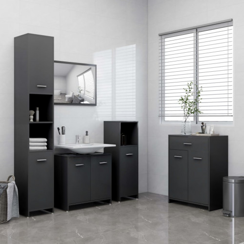 vidaXL Badrumsmöbler 4 delar grå