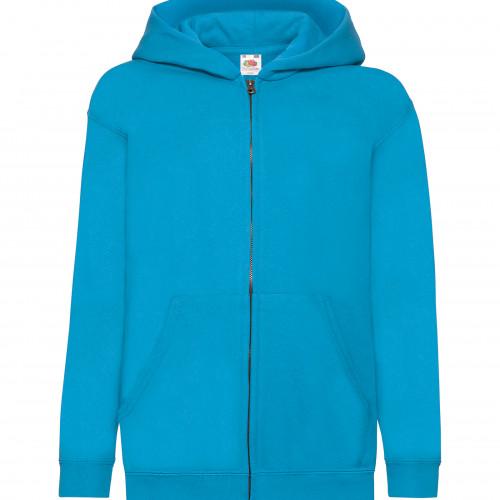 Fruit of the Loom Kids Hooded Sweat Jacket Azure Blue