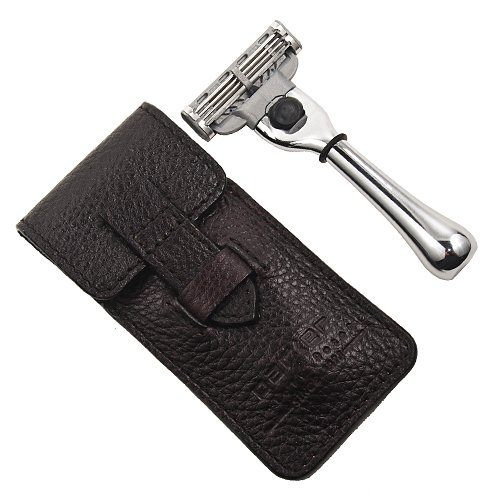 Parker TM-3 Travel Mach-3 Razor with Leather Pouch