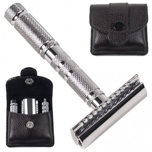 Parker A1-R 4 Piece Travel Safety Razor & Leather Pouch