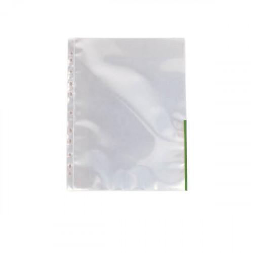 ESSELTE Plastficka A4 105my Transparent Grön 100-pack