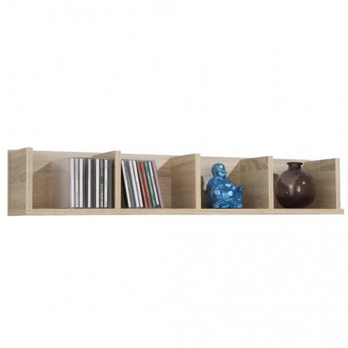 FMD FMD Väggmonterad hylla med 4 fack 92x17x16,5cm ek