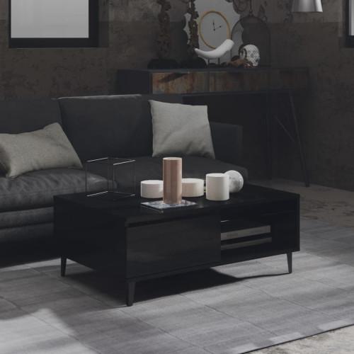 vidaXL Soffbord svart högglans 90x60x35 cm spånskiva