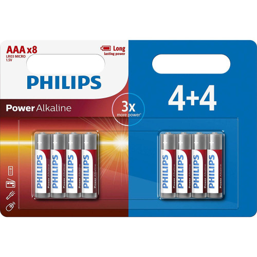 Philips Batteri Alkaliska LR03/AAA 8-pack