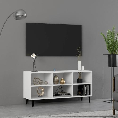 vidaXL TV-bänk med metallben vit 103,5x30x50 cm