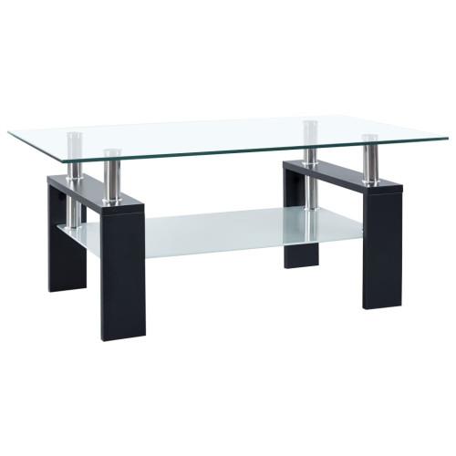 vidaXL Soffbord svart och transparent 95x55x40 cm härdat glas