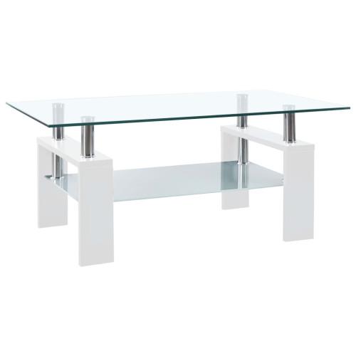 vidaXL Soffbord vit och transparent 95x55x40 cm härdat glas
