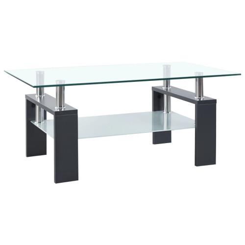 vidaXL Soffbord grå och transparent 95x55x40 cm härdat glas