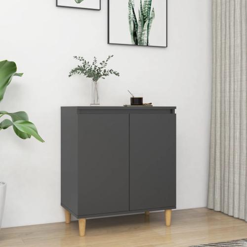 vidaXL Skänk massiva träben grå 60x35x70 cm spånskiva