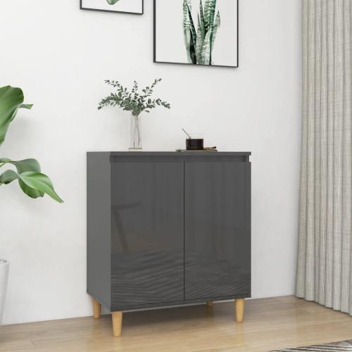 vidaXL Skänk massiva träben grå högglans 60x35x70 cm spånskiva