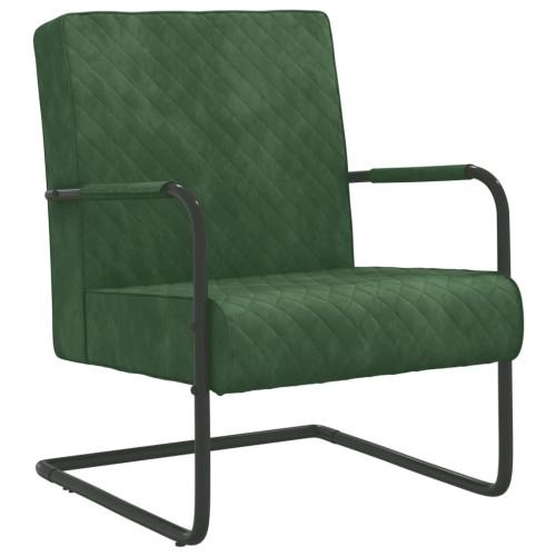 vidaXL Fribärande stol mörkgrön sammet
