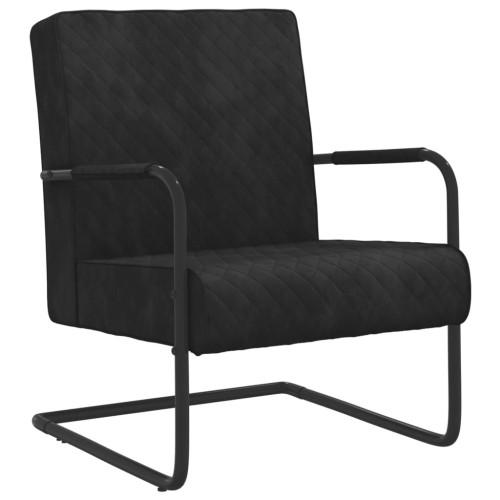 vidaXL Fribärande stol svart sammet