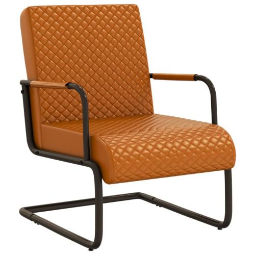 vidaXL Fribärande stol brun konstläder