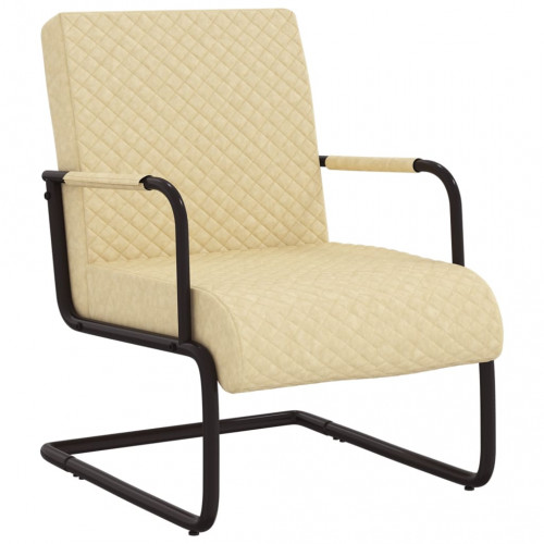 vidaXL Fribärande stol gräddvit konstläder