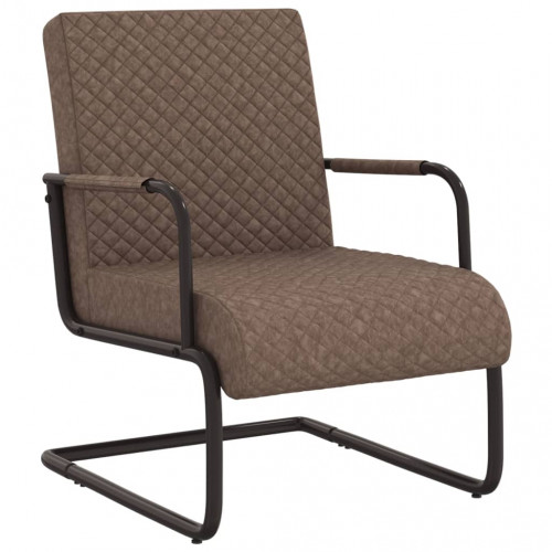 vidaXL Fribärande stol mörkbrun konstläder