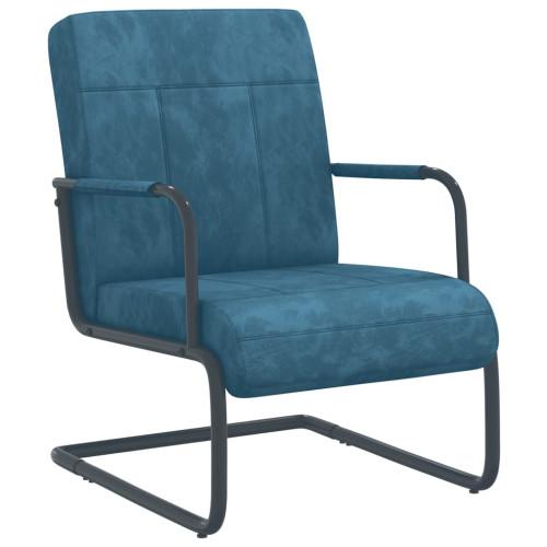 vidaXL Fribärande stol blå sammet