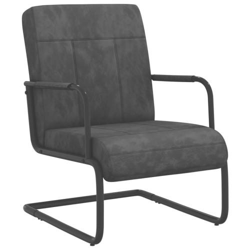 vidaXL Fribärande stol mörkgrå sammet