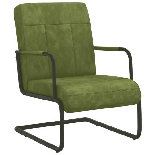 vidaXL Fribärande stol ljusgrön sammet