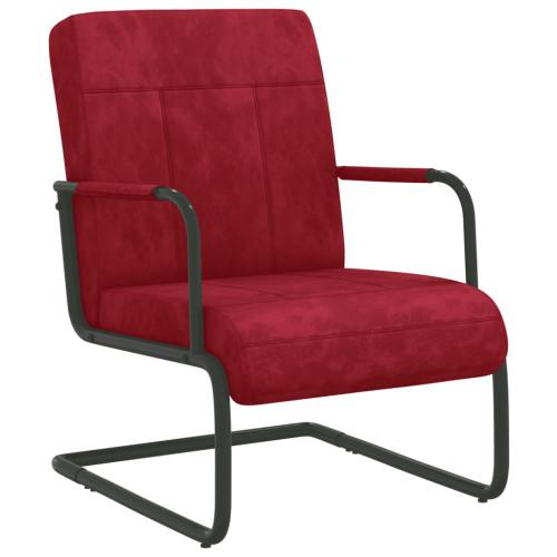 vidaXL Fribärande stol vinröd sammet