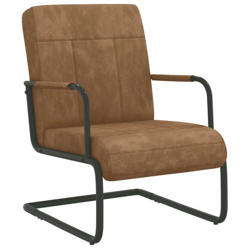 vidaXL Fribärande stol brun sammet