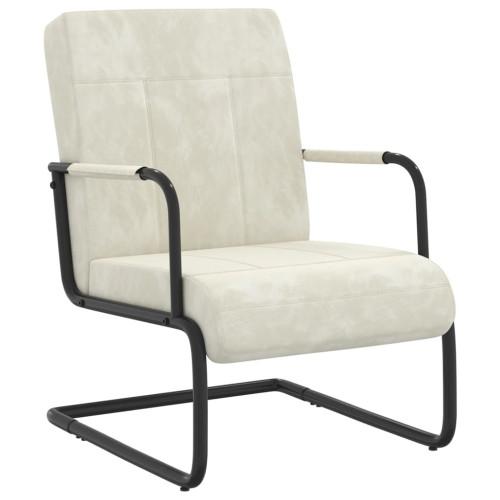 vidaXL Fribärande stol gräddvit sammet