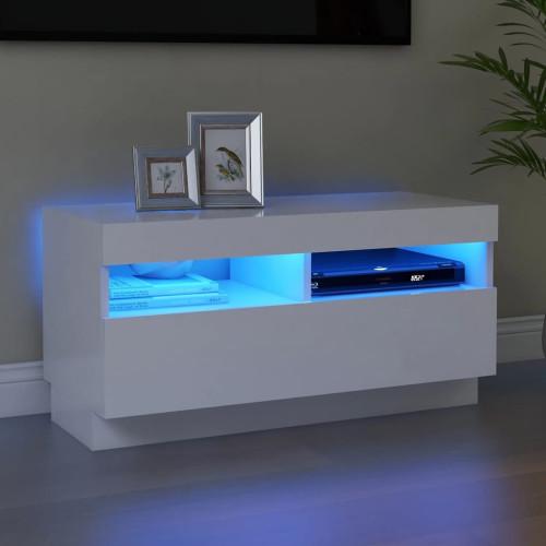 vidaXL TV-bänk med LED-belysning vit 80x35x40 cm
