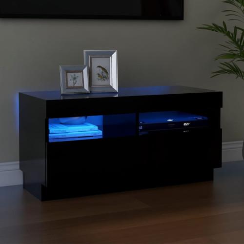 vidaXL TV-bänk med LED-belysning svart 80x35x40 cm