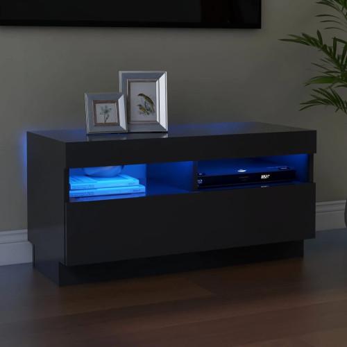 vidaXL TV-bänk med LED-belysning grå 80x35x40 cm
